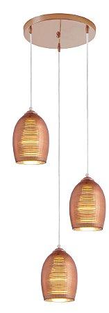 Lustre/Pendente em Vidro Row Cobre 3Xe27 Design Moderno - Startec