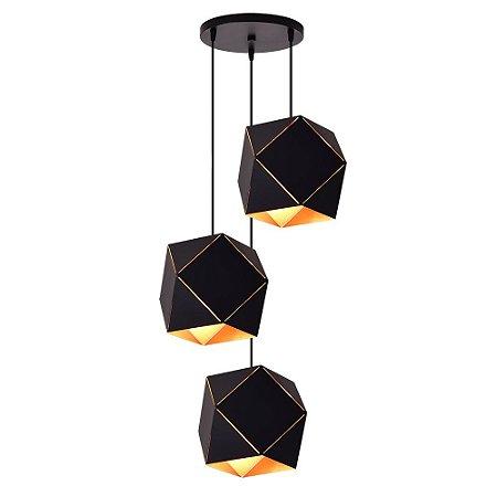 Lustre/Pendente Alumínio RPX Faces Preto 3 Lâmpadas - Design Moderno Industrial Quarto/Sala - Startec