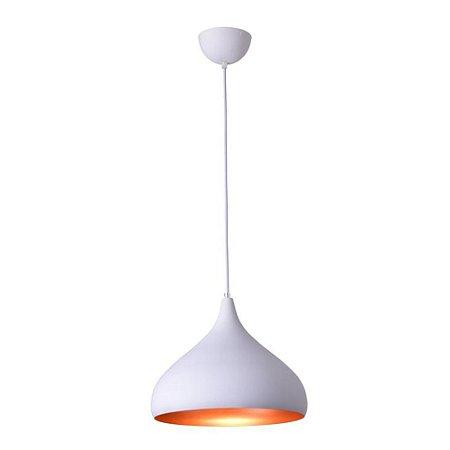 Lustre/Pendente Gota Alumínio RPX Branco c/ Cobre 30cm - Startec
