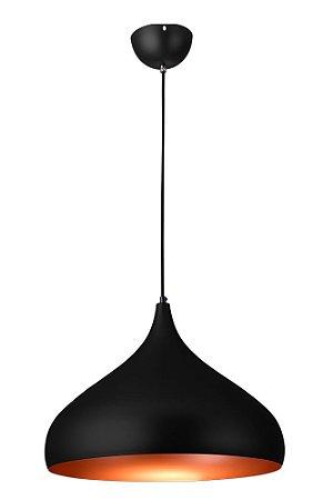 Lustre/Pendente Gota Alumínio RPX Preto c/ Cobre 40 cm - Startec