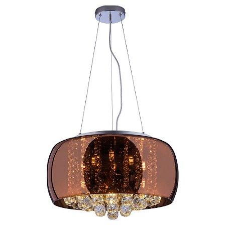 Pendente/Plafon em Vidro e Cristal Attractive Cobre 50cm G9 - Lustre Design Moderno Sala/Quarto - Startec