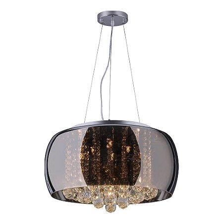 Pendente/Plafon em Vidro e Cristal Attractive Cromado 50cm G9 - Lustre Design Moderno Sala/Quarto - Startec