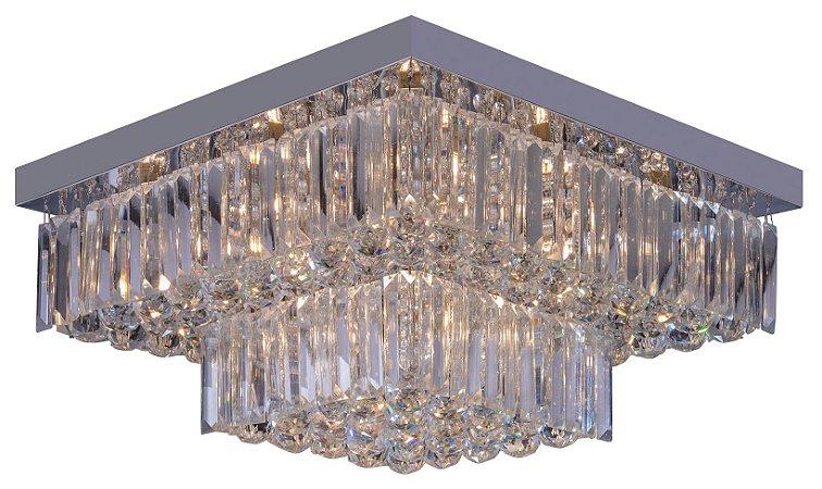Plafon Sobrepor Quadrado Cristal Legítimo Cake 50cm G9 Startec - Design Moderno Quarto/Sala