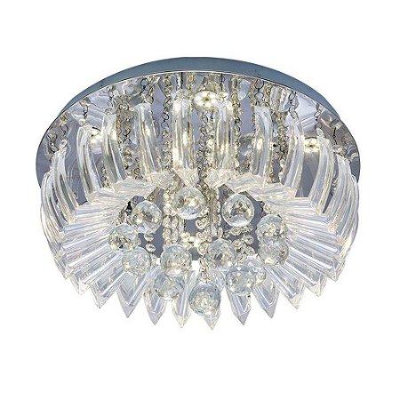 Plafon Sobrepor LED Cristal e Acrílico Greta 45cm 24W 6500K