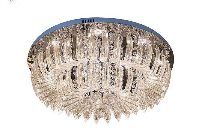 Plafon Sobrepor LED Redondo Cristal Ingrid 60cm 36W 3000K
