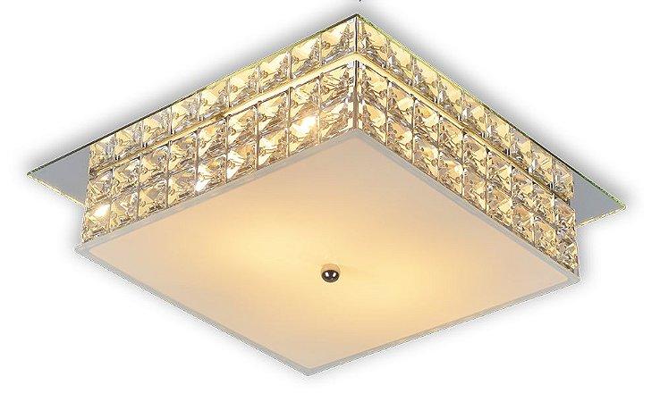 Plafon Sobrepor Quadrado Cristal Legítimo London Espelho 30cm 2xE27  - Startec