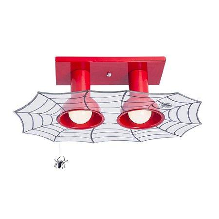 Lustre/Plafon Duplo Infantil Homem Aranha Teia Luminária Super Herói Quarto de Menino - Startec