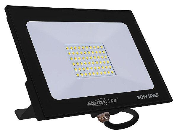 Refletor Holofote LED Preto 30W 6500K Branco Frio Bivolt  a Prova D'água - Startec