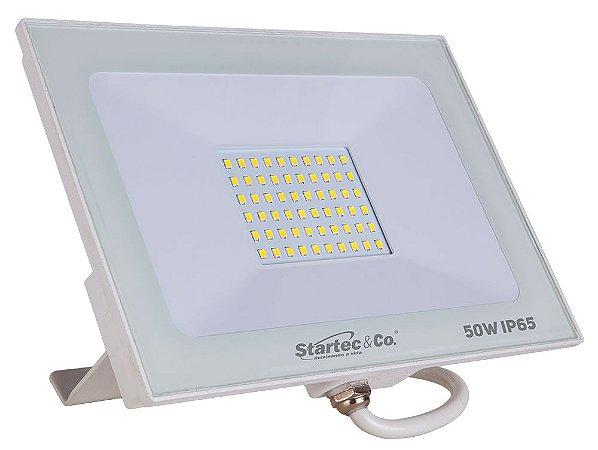 Refletor Holofote LED Branco 50W 6500K Branco Frio Bivolt a Prova D'Água - Startec