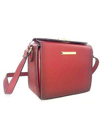 Bolsa Feminina Pequena Tiracolo Box Transversal Vermelho Vinho - Chenson