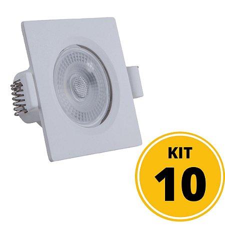 Kit 10 Spots de Embutir LED Quadrado PP 7W 3000K - Startec