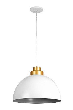 Pendente de Alumínio Meia Lua 40 cm Branco com detalhe Dourado - RPX GO M3 - Startec