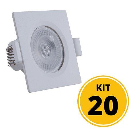 Kit 20 Spots de Embutir LED Quadrado PP 5W 3000K Luminária Teto/Gesso - Startec