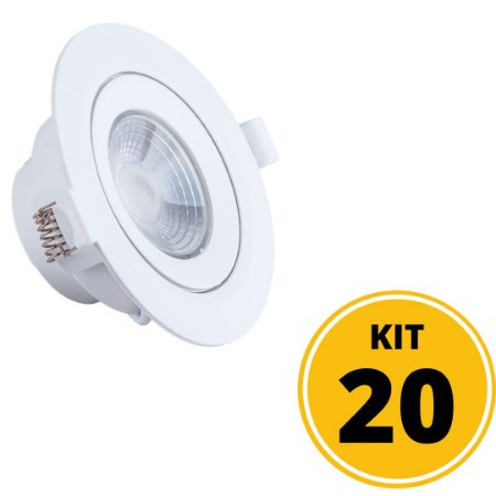 Kit 20 Spots de Embutir LED Redondo PP 5W 3000K Luminária Teto/Gesso - Startec