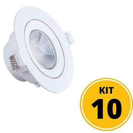 Kit 10 Spots de Embutir LED Redondo PP 5W 4000K Luminária Teto/Gesso - Startec