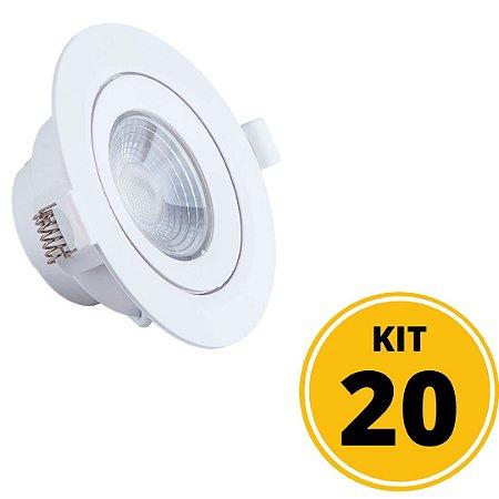 Kit 20 Spots de Embutir LED Redondo PP 5W 4000K Luminária Teto/Gesso - Startec
