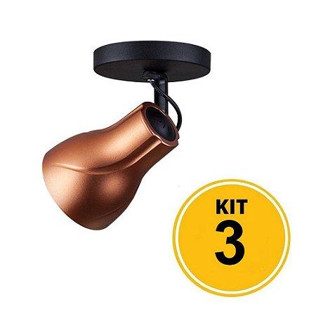 Kit 3 Spot de Sobrepor Direcionável Octa Plus Cobre 1xE27