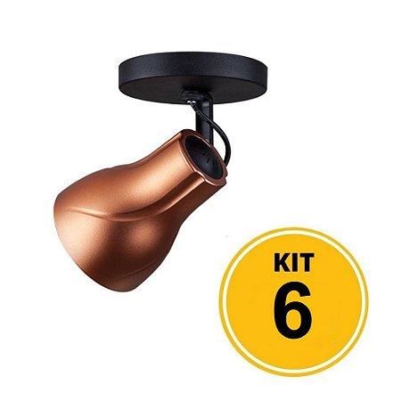 Kit 6 Spot de Sobrepor Direcionável Octa Plus Cobre 1xE27