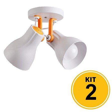 Kit 2 Spot de Sobrepor Direcionável Duplo Octa 2xE27 - Plus Branco/Amarelo