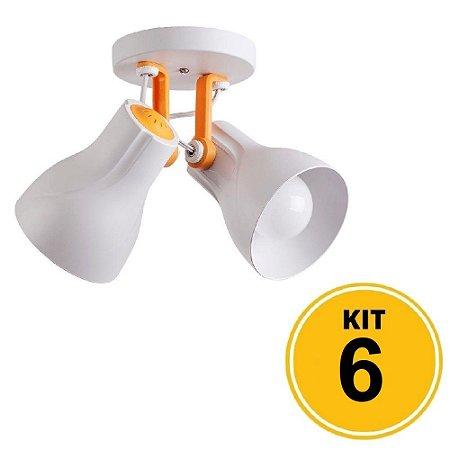 Kit 6 Spot de Sobrepor Direcionável Duplo Octa Plus 2xE27 - Branco/Amarelo