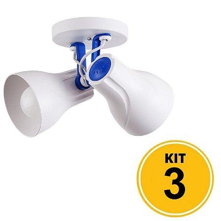 Kit 3 Spot de Sobrepor Direcionável Duplo Octa Plus 2xE27 - Branco/Azul