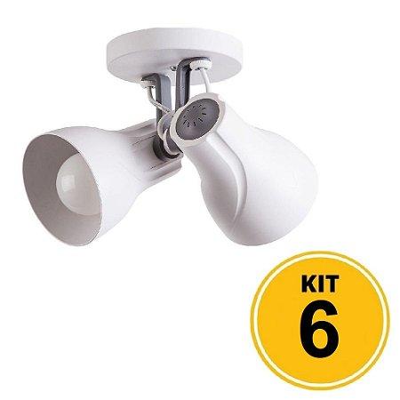 Kit 6 Spot de Sobrepor Direcionável Duplo Octa Plus 2xE27 - Branco/Cinza