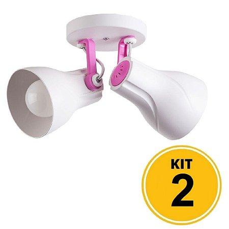 Kit 2 Spot de Sobrepor Direcionável Duplo Octa Plus 2xE27 - Branco/Rosa
