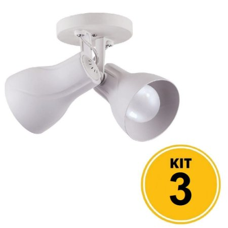 Kit 3 Spot de Sobrepor Direcionável Duplo Octa Plus 2xE27 - Branco