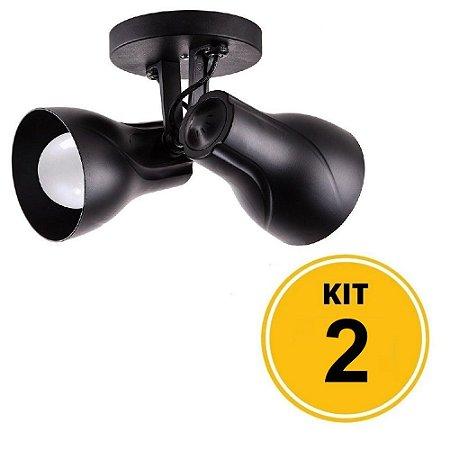 Kit 2 Spot de Sobrepor Direcionável Duplo Octa Plus 2xE27 - Preto