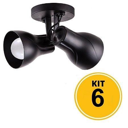 Kit 6 Spot de Sobrepor Direcionável Duplo Octa Plus 2xE27 - Preto