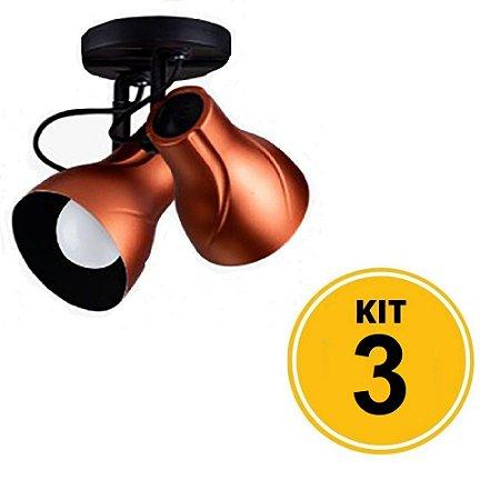 Kit 3 Spot de Sobrepor Direcionável Duplo Octa Plus 2xE27 - Cobre