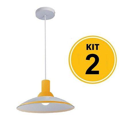 Kit 2 Pendente Chapéu em Vidro Ice Amarelo 30cm - Startec
