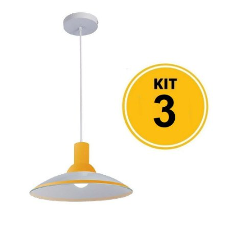 Kit 3 Pendente Chapéu em Vidro Ice Amarelo 30cm - Startec