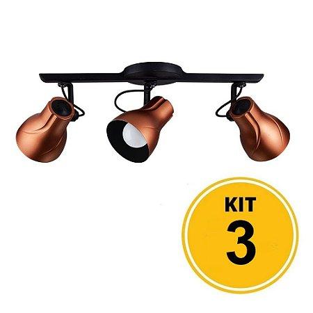 Kit 3 Spot de Sobrepor Direcionável Trilho Octa Plus Cobre 3xE27 - Startec