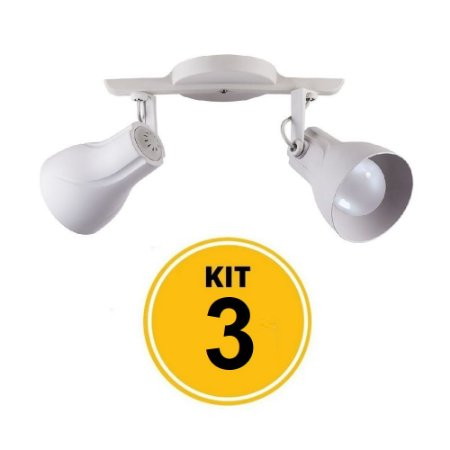 Kit 3 Spot Trilho Octa Plus Branco 2xE27 - Startec