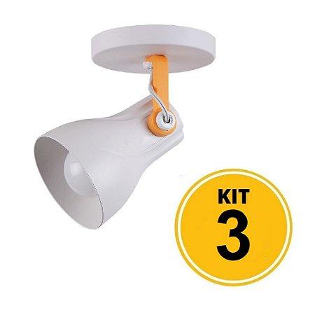 Kit 3 Spot Sobrepor Direcionável Octa Plus Branco/Amarelo 1xE27 - Startec