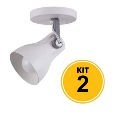 Kit 2 Spot Sobrepor Direcionável Octa Plus Branco/Cinza 1xE27 - Startec