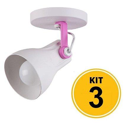 Kit 3 Spot Sobrepor Direcionável Octa Plus Branco/Rosa 1xE27 - Startec