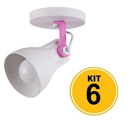 Kit 6 Spot Sobrepor Direcionável Octa Plus Branco/Rosa 1xE27 - Startec