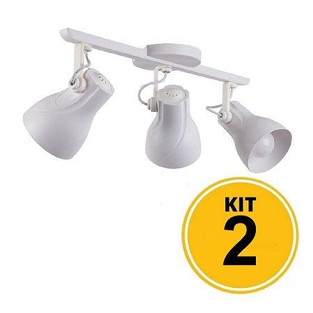 Kit 2 Spot Trilho Octa Plus Branco 3xE27 - Startec