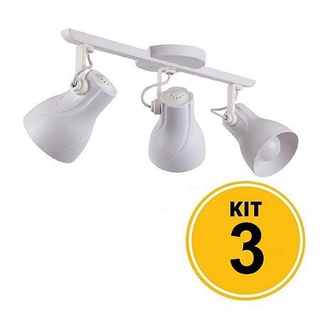 Kit 3 Spot Trilho Octa Plus Branco 3xE27 - Startec