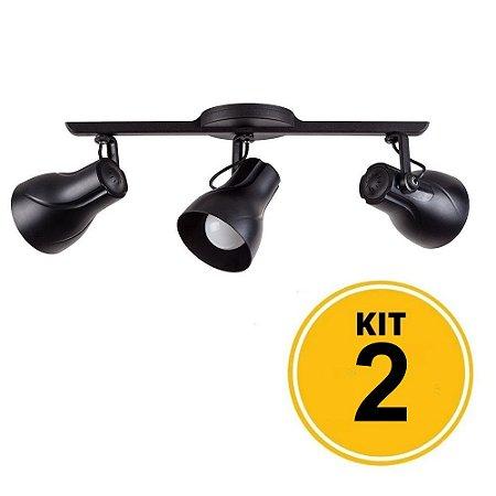 Kit 2 Spot Trilho Octa Plus Preto 3xE27 - Startec