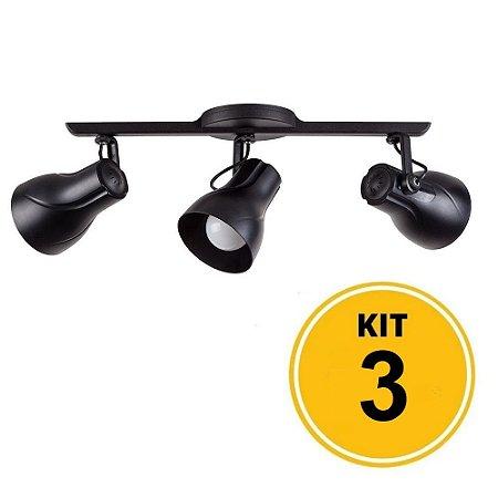 Kit 3 Spot Trilho Octa Plus Preto 3xE27 - Startec