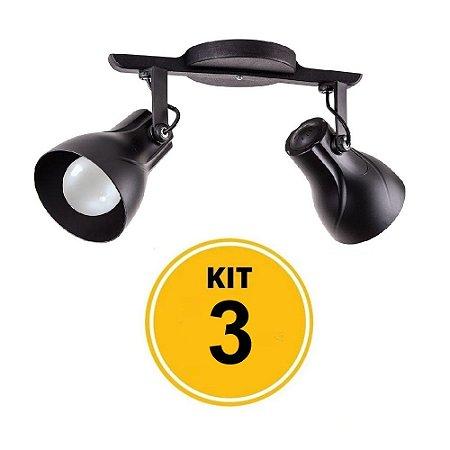Kit 3 Spot Trilho Octa Plus Preto 2xE27 - Startec