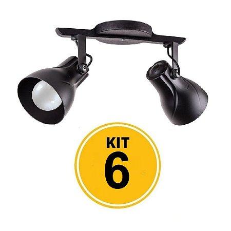 Kit 6 Spot Trilho Octa Plus Preto 2xE27 - Startec