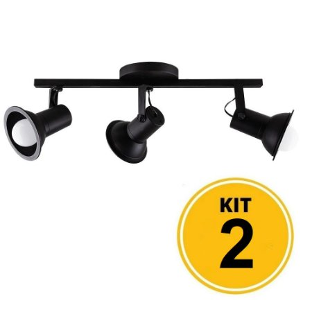 Kit 2 Spot Sobrepor Trilho Direcionável Octa Cupps Preto 3xE27 Bivolt - Design Moderno Quarto/Sala