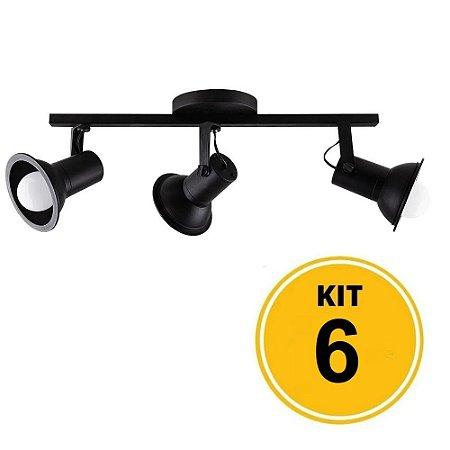 Kit 6 Spot Sobrepor Trilho Direcionável Octa Cupps Preto 3xE27 Bivolt - Design Moderno Quarto/Sala