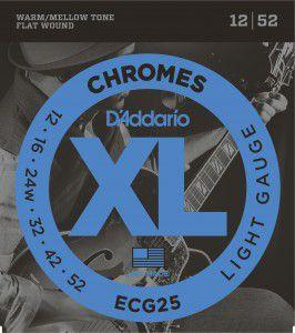 ENCORDOAMENTO D´ADDARIO 012 GUITARRA CHROMES FLAT WOUND ECG25