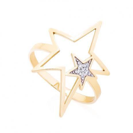 Anel de Ouro 750 18K Estrela vazada com Diamantes