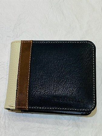 Carteira de Couro Azul Escuro c/ Marrom - Marville